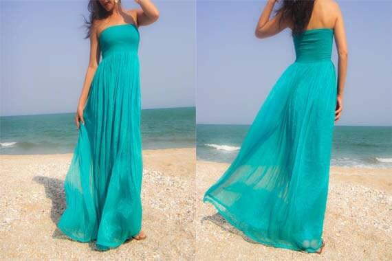 Aqua turquoise teal color green chiffon long maxi dress one
