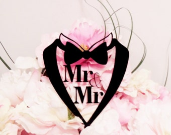 Gay Mr and Mr Suit Wedding Cake Topper