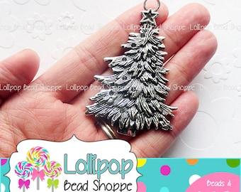 70mm Christmas Tree Pendant Silver Chunky Necklace Pendant Christmas Pendants Antique Silver Christmas Tree Pendants Lead Free Cadmium Free