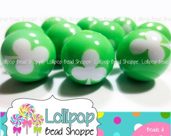 LIME GREEN Three Leaf Clover Beads 16mm Round Chunky Necklace Bead 20pk Plastic Shamrock Beads St Patrick's Day Acrylic Resin Gumball Beads