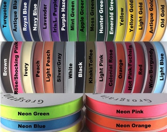 "1/4""  Grosgrain Ribbon 50 Yards 39 Solid Color ""PICK YOUR COLORS"" 100% polyester"