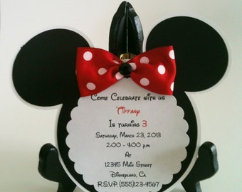 Minnie Mouse Party Invitation, Mickey Mouse Party Invitation