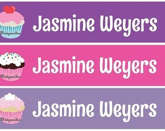 Personalized Waterproof Labels Waterproof Stickers Name Label Dishwasher Safe Daycare Label School Label - Sweet Cupcakes