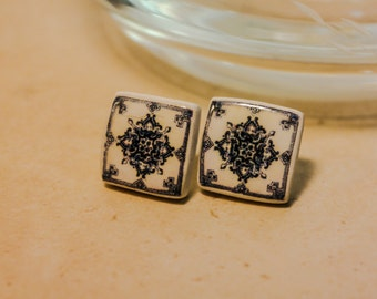 small earrings with antique Portuguese tile replica.