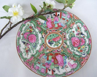 SALE Japanese Asian Famille Rose Medallion Plate Geisha Hand Painted