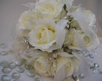 Brooke's Bling and Glam silk Bridal Bouquet Rhinestones,Crystals, Roses, Hydrangeas