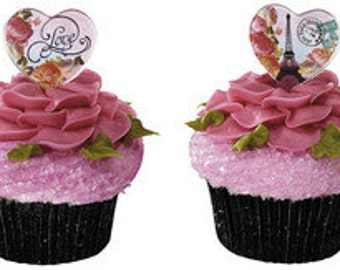 Parisian Heart Pick Cupcake Toppers