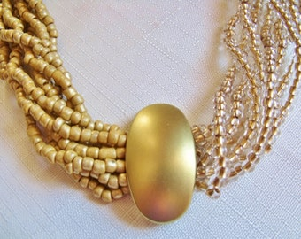 Contrasting Matte Gold & Crystal Gold Lined Seed Bead Necklace With Vintage Focal