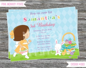 DIY - Girl Easter Egg Hunt Birthday Party Invitation #380 - Coordinating Items Available