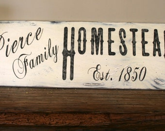 Rustic Personalized Sign Vintage Farmhouse Sign Custom Sign Shabby Chic Farmhouse  Family Name Sign Primitive Country Sign Distressed Wood