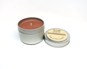 hot fudge brownie soy candle tin, hot fudge brownie scented candle, chocolate scented soy candle tin