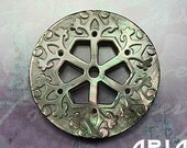 MOTHER OF PEARL: 30mm Black Mother of Pearl Carved Openwork Filigree Hexagon Component or Button (1)