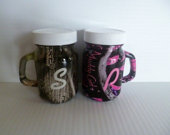 camo mason jar salt and pepper shakers hydrodipped
