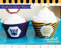 Transformers Cupcake Wrappers for Transformers Birthday Party. Instant Download Transformers Cupcake Liners Printable. Non-Personalized.