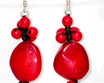 Coral Stone Bead Earrings, Wax Cord Earrings, Red Coral Earrings