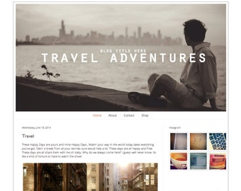 Responsive Premade Blogger Template - Travel Instant Download