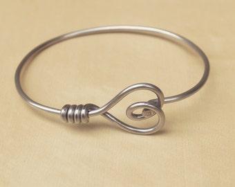 Silver Heart Bicycle Spoke Bracelet