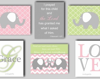 Elephant Nursery Art, Elephant Bedding, Elephant Print, Baby Girl Nursery Art, Bible Verse Print, Elephant Wall Art, Elephant Nursery EH5819