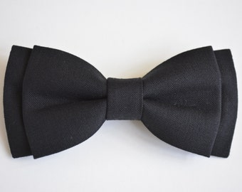 Bow tie-black, solid black bow tie for kids or men