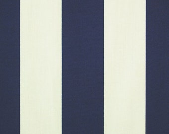 """Outdoor Fabric by the Yard Navy Blue Stripe Outdoor Fabric Blue Fabric Premier Prints 3"""" Stripe Vertical Outdoor Navy Blue and Ivory"""