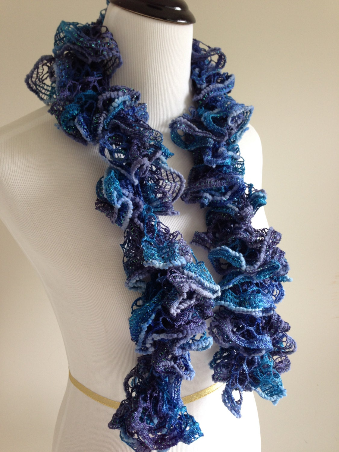 Free Knitting Pattern For Spiral Scarves : Hand Knit Ruffle Spiral Scarf in Blues and Aqua