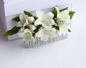 Hair Comb, Bridal Hair, Bridal Hair Accessory, Bridal Hair Clip, jasmine flower, Flower Hair Comb, Flower Bridal Comb