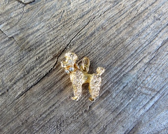 Gold tone poodle puppy pendant with collar  gems