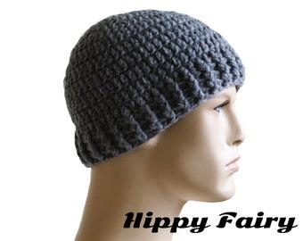 Mens Skull cap, beanie hat,mens cap,   Gray beanie ,crochet mens hat, beanie for men, skullcap,crochet hat, mens skull cap