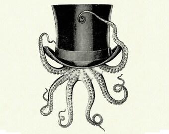 Octopus Art Print Kraken wearing a Top Hat Victorian Steampunk art print SMALL