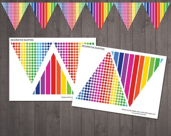 PRINTABLE Rainbow Bunting for a Rainbow Party - Rainbow Penant Flags in Spots and Stripes - INSTANT DOWNLOAD