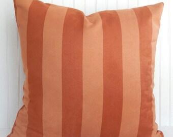 Orange Pillow Cover -  Microsuede Pillow - Rusty Orange Throw Pillow - Stripe Pillow -  Decorative Pillow - Orange Toss Pillow