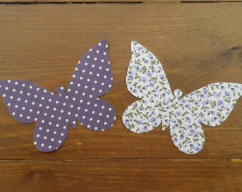 Iron On BUTTERFLIES x 2 Shabby Chic Floral/Dotty Fabric - Applique