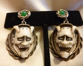 60s FLORENZA Earrings Devil/Demon/Hannya Face, UNUSUAL, Screw Back with Green Cabochons,Goth, Steampunk, Excellent
