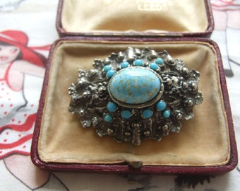 Vintage large brooch with turquoise lapis style stones     109