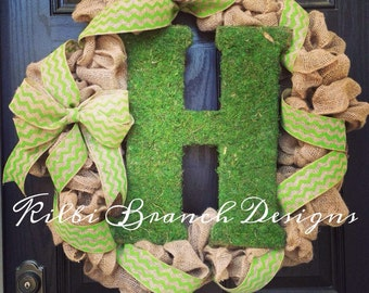 Large burlap wreath // large moss monogram letter // green // year round // shabby chic