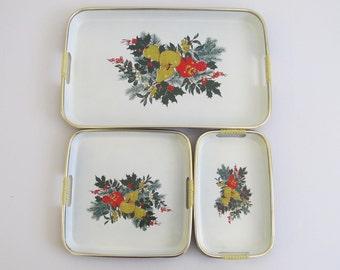 Lacquerware Tray Set, Lacquerware, Trays, Holidays, Holiday Trays, Christmas, Christmas Trays, Christmas Decor, Serving Trays