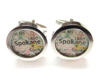 Spokane Washington Map Cufflinks