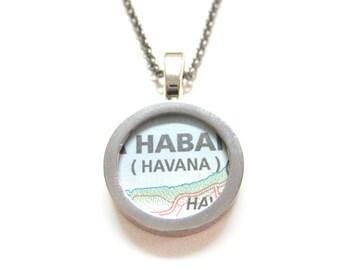 Havana Cuba Map Pendant Necklace