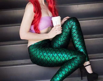 Dragon/mermaid scale spandex leggings