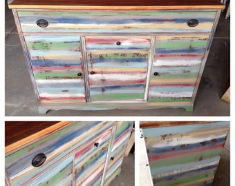 Custom Multi Colored Farmhouse Buffet Custom Painted Furniture Denver