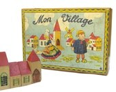 FRENCH VINTAGE Wooden Building Blocks Game.