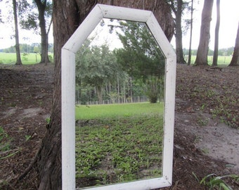 Shabby chic mirror, large mirror, wood mirror, white mirror, mirror, shabby chic decor, wedding ,beveled mirror,