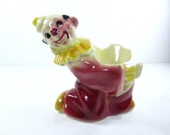 CERAMIC CLOWN, clown figurine, clown statue,vintage figurine, porcelain,red,nic nac,