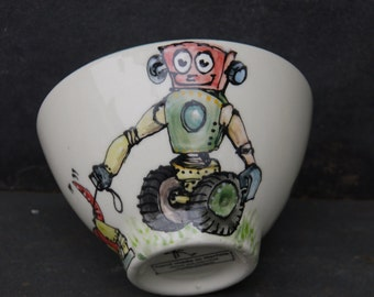 retro robot personalised bowl