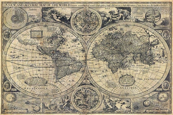 Giant Historic Old World Map 1626 Old Antique Restoration Hardware Style World Map Fine Art Print world map Wall Decor House warming gift