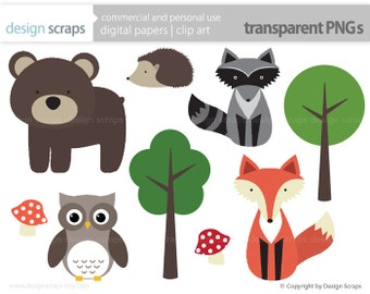 woodland animal clip art graphics, forest animals digital clipart fox raccoon hedgehog owl bear commercial use - INSTANT DOWNLOAD