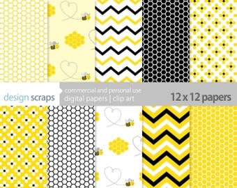 bee digital paper pack scrapbook bumble bee flowers honeycomb commercial use - bumble bee yellow black digital paper - INSTANT DOWNLOAD