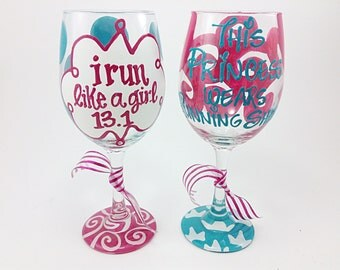 I Run Like a Girl 13.1 or This Princess Wears Running Shoes Wine Glass Cup Chevron Personalized Half or Full Marathon 26.2