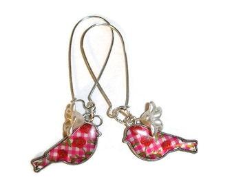 Gingham Rose Retro Bird and Flower earrings
