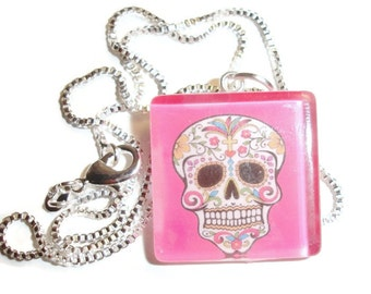 Sugar SkullHot Pink  background Glass Pendant Necklace